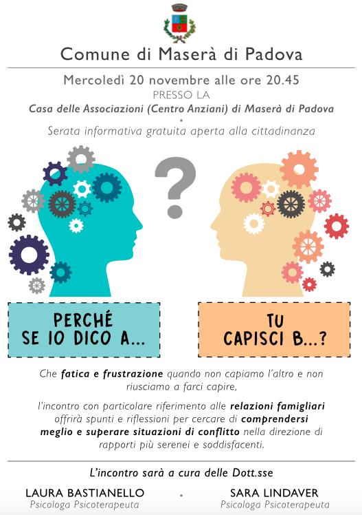 Incontro Maserà di Padova 20 Novembre 2019 - Psicologa Psicoterapeuta Dott.sse Sara Lindaver e Laura Bastianello - Locandina